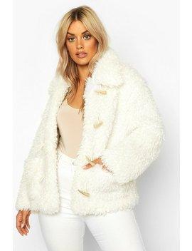 plus-teddy-faux-fur-mock-horn-toggle-coat by boohoo