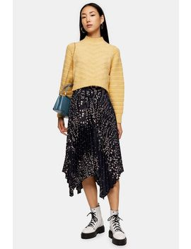 Black Floral Belted Pleated Midi Skirt by Topshop