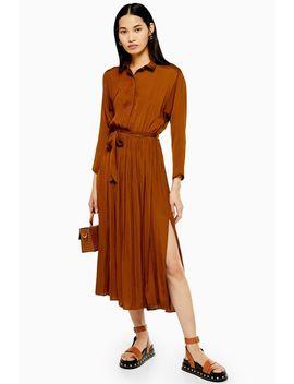 tan-satin-pleated-shirt-dress by topshop