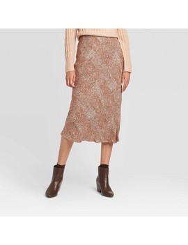 womens-snakeskin-mid-rise-midi-slip-skirt---a-new-day-brown by a-new-day