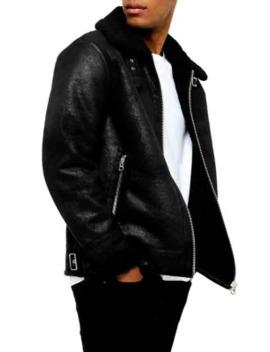 black-faux-shearling-aviator-jacket by topman