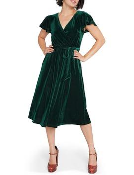 faux-wrap-velvet-dress by modcloth