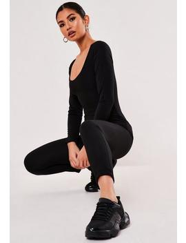 black-jersey-scoop-neck-unitard-jumpsuit by missguided