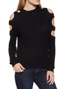 Cut Out Long Sleeve Sweater by Rainbow