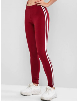 Contrast Striped Tapered Skinny Leggings   Red Wine Xl by Zaful