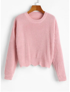 Zigzag Hem Solid Loose Sweater   Light Pink by Zaful