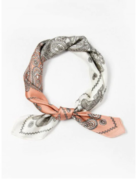 Paisley Print Two Tone Square Scarf   Pink by Zaful