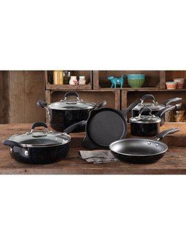 the-pioneer-woman-vintage-speckle-&-cast-iron-10-piece-non-stick-cookware-set,-black by the-pioneer-woman