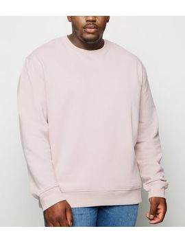 plus-size-pink-long-sleeve-crew-sweatshirt by new-look