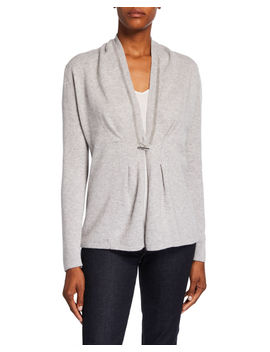 chain-trim-toggle-front-long-sleeve-cashmere-cardigan by neiman-marcus-cashmere-collection