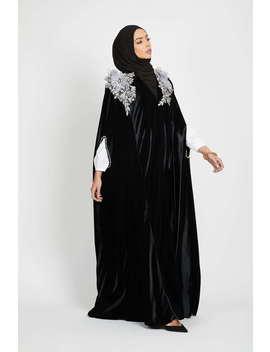 black-velvet-floral-cape---mauve by abayabuth