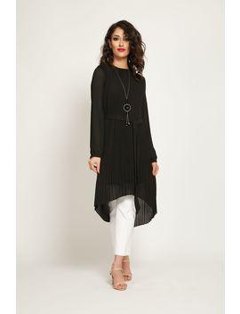 Black Pleated Midi Dress by Abayabuth