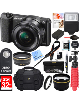 sony-alpha-a5100-hd-1080p-mirrorless-digital-camera-black-+-16-50mm-lens-kit-+-lexar-32gb-memory-card-+-dslr-photo-bag-+-extra-battery-+-wide-angle-lens-+-2x-telephoto-lens-+-flash-+-remote-+-tripod by sony
