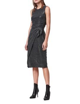 allegra-shimmer-wrap-front-sleeveless-sheath-dress by allsaints