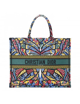 christian-dior-embroidered-canvas-book-tote-black-multicolor by christian-dior