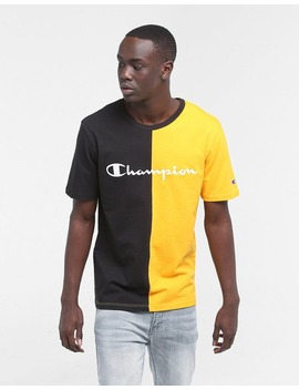 Champion Spliced Heritage Tee Black/Yellow by Champion