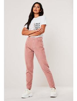 Blush Co Ord High Rise Jumbo Cord Mom Jeans by Missguided