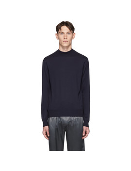 navy-mock-neck-sweater by brioni