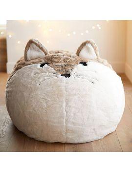 Fox Faux Fur Critter Bean Bag Chair by P Bteen