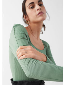 puff-shoulder-stretch-bodysuit by &-other-stories