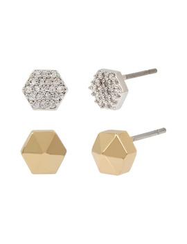 set-of-2-hex-stud-earrings by allsaints