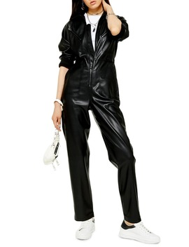 long-sleeve-straight-leg-faux-leather-jumpsuit by topshop
