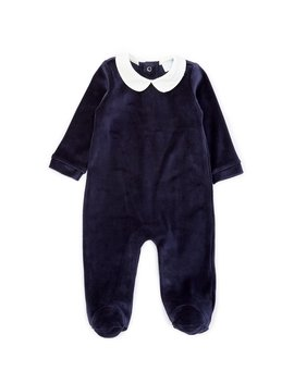 baby-boys-newborn-6-months-velour-footed-coverall by edgehill-collection