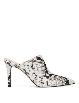 karyta-heel-mules---white-multi-snake-print by nine-west