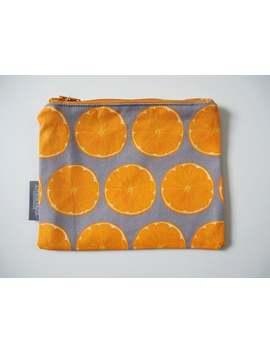 grey,-orange-slice,-zip-pouch,-coin-purse,-jewellery-pouch,-handbag-organiser,-cotton,-handmade,-small-purse,-purse-with-zip,-pocket-money by etsy