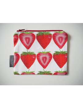 strawberry,-zip-pouch,-coin-purse,-jewellery-pouch,-handbag-organiser,-cotton,-handmade,-small-purse,-purse-with-zip,-pocket-money-pouch by etsy