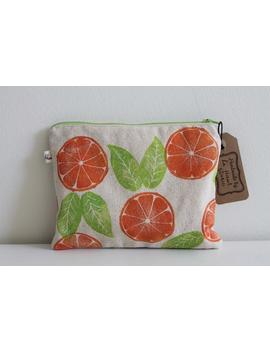 orange-slice-canvas-pouch-|-hand-stamped-print-|-hand-carved-|-zippered-pouch by etsy