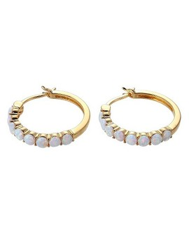18k-yellow-gold-plated-sterling-silver-lab-created-opal-hoop-earrings by prime-art-&-jewel