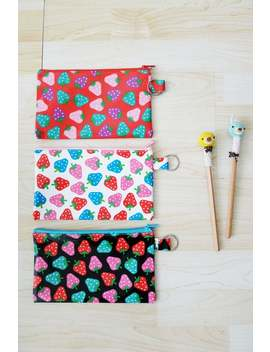 large-black-_-white-_-pink-strawberry-printed-pvc-zipper-pencil-case,with-silver-ring,-cosmetic-bag,-snack-bag,-rectangle-shaped,waterproof by etsy