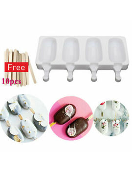 4-cell-frozen-ice-cream-diy-pop-mold-popsicle-maker-lolly-mould-tray-pan-kitchen by ebay-seller