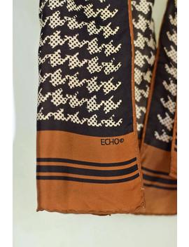 vintage-echo-silk-scarf-houndstooth-brown-cream-rectangular-hand-rolled-hem by etsy