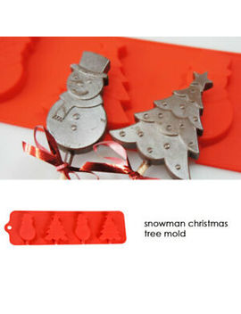 4-cell-snowman-christmas-tree-chocolate-silicone-cake-lolly-mould by ebay-seller