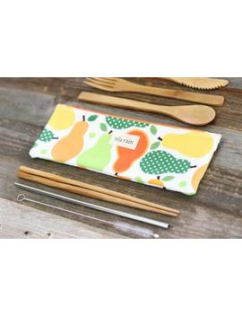 """reusable-bamboo-utensils-cutlery-pouch-""""metro-pears"""",-zero-waste-kit,-,-cutlery-bag,-eco-conscious-reusable-straw,-straw-pouch-travel-kit by etsy"""
