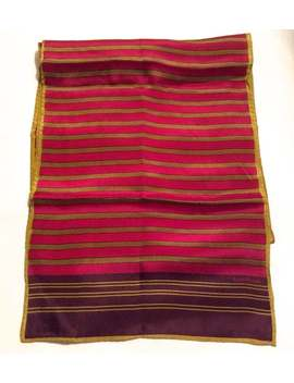 vintage-1970s-evan-picone-collection-long-multi-colored-striped-silk-scarf-with-gold-accents by etsy