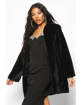 collarless-faux-fur-coat by boohoo