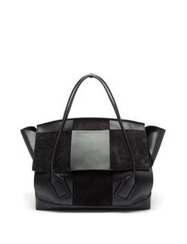the-arco-maxi-suede-and-leather-holdall by bottega-veneta