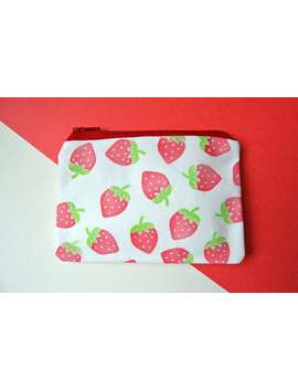 hand-printed-strawberry-pattern-coin-purse by etsy