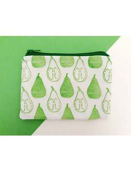 hand-printed-green-pear-pattern-coin-purse by etsy