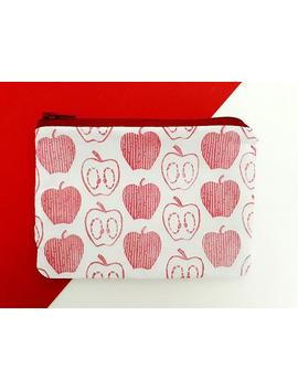 hand-printed-red-apple-pattern-coin-purse by etsy