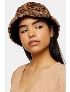Leopard Print Faux Fur Revere Bucket Hat by Topshop
