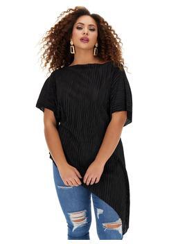 black-plisse-asymmetric-top by simply-be
