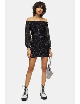 Black Star Bardot Lace Mini Dress by Topshop