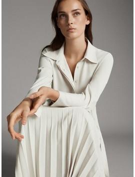 košulja-haljina-s-plisiranom-suknjom by massimo-dutti