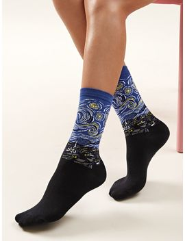 Starry Night Pattern Socks 1pair by Romwe