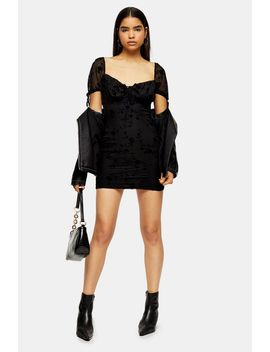 black-gypsy-devore-mini-dress by topshop