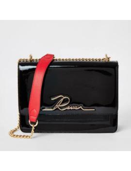 Black Patent 'river' Satchel Bag by River Island